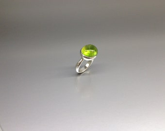 Bright green cabochon cut Tourmaline ring set in Sterling silver - gift idea - holiday season