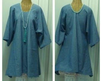 Chambray Dress, A Line, Tunic, Blouse, Half Sleeves, Lagenlook, Minimalist