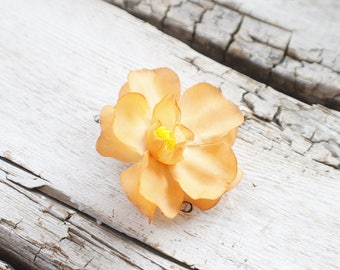 light orange / tangerine / peach flower hair clip, hair accessory, flower hair clips for girls for women, flower hair clips for toddlers