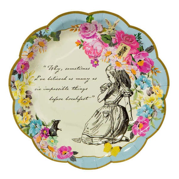 $5.43+  sc 1 st  Etsy Studio & Alice in wonderland paper plates mad hatter tea party vintage ...