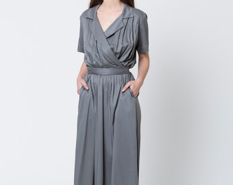 Maxi dress summer, gray green dress, gray green bridesmaid dress, Long dresses for women, v neck prom dress, maxi dress with sleeves