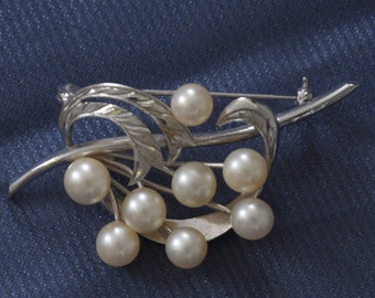 Antique Cultured Pearl Brooch sterling silver eight 6.5mm