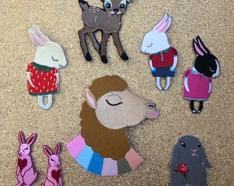 Set of 8 Embroidered Iron On Patches by The Storybook Rabbit