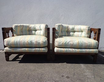 2 Chairs Vintage Barrel Set of Chairs Loungers Armchair Accent Chair Seating Wood Hollywood Regency Mid Century Modern Tufted Living Room