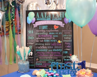 First / 1st Birthday Chalkboard/Printable Chalk Poster/Birthday Custom Sign/Chalkboard Sign/Mermaid/ Under the sea party/Purple Teal