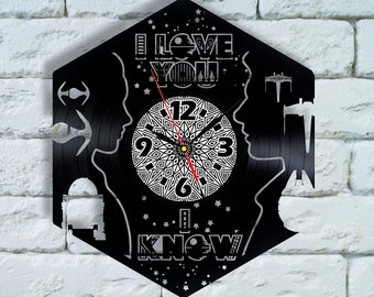 Star Wars gifts for him, Star Wars I love you I know vinyl wall Clock, i love you i know art, han solo princess leia cosplay wall decor
