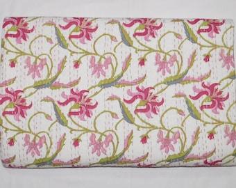 Indian Handmade Floral Kantha Quilt Queen Size Bedspread