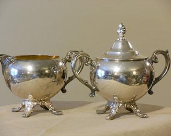 William Rogers Vintage Silver Plate Sugar Bowl & Creamer Set