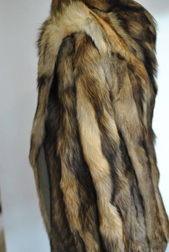 women's coat FUR FOX length Vintage winter medium COAT 576 H1X6wqZ