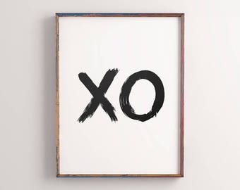 XO Printable Poster, Home Decor Black & White Kisses, Inspirational Love Print XO, Motivational Wall Decor Digital Print *Instant Download*