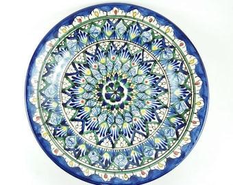 Uzbek ceramics dish plate art Uzbekistan ceramic blue and green plates decorative  sc 1 st  Etsy & Uzbekistan pottery blue and green plates decorative plates