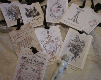 LOVELY Gift Tags French Country 9 Glitter  ~ FRENCH Market