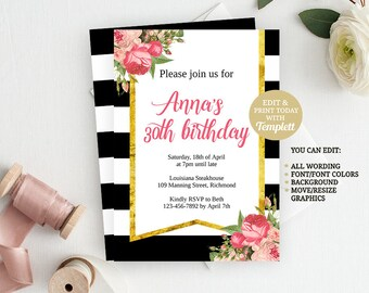 INSTANT DOWNLOAD 30th Birthday Invitation, Printable Invitation, Adult Birthday, Birthday Invite, Birthday Party, Party Invitation, 30th