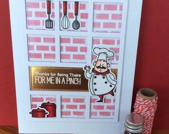 Handmade brick kitchen chef thank you card