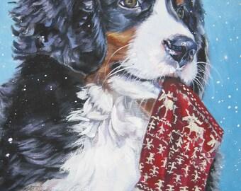"Bernese Mountain Dog portrait art canvas PRINT of LAShepard painting 12x16"" xmas BERNER pup"