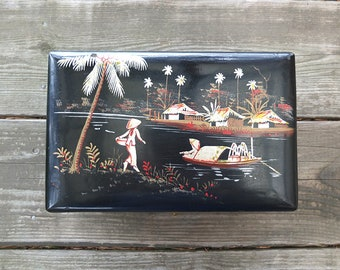 Vintage Japanese Black Lacquer Jewelry Box / Asian Style Jewelry Box / Vintage Jewelry Box