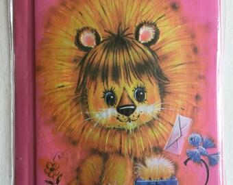Vintage Birthday Card, Cute Lion and Bluebird, Unused