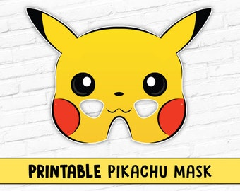 Printable Pikachu Mask | Pokemon Mask | Cartoon Character Mask