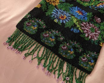 1920s Beaded Purse  Trinity Plate Floral Handbag with Fringe Microbeaded 20s