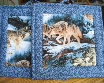 Quilted Pot Holders in a Wolves Pattern - Set of 2