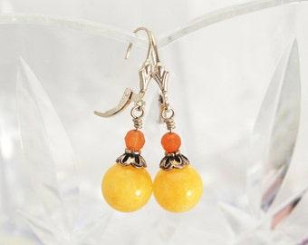 Golden Yellow earrings | Jade earrings | Orange earrings | Orange Calcite earrings | Saffron earrings | Tangerine earrings | Amber earrings