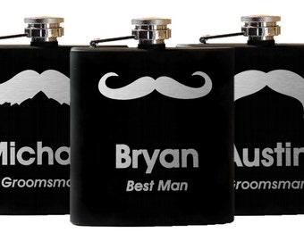 6 Personalized Flasks - Mustache, Custom Flask, Engraved Flask - Groomsman Best Man Gift, Set of 6 Flasks, Stainless Steel