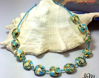 murano glass necklace, Aquamarine White color, Gold leaf 24 kt, pleiadi, lampwork, handmade.