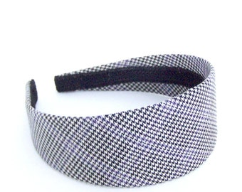 Wide Houndstooth Headband - Black, Off-White, Lavender - Blair Waldorf Headband - Preppy Plaid Headband for Girls and Adults
