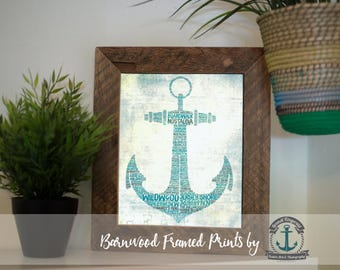 Wildwood Jersey Shore Anchor - Teals - Framed Print in Reclaimed Barnwood Beach House Style