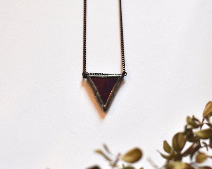 Little black triangle stained glass pendant