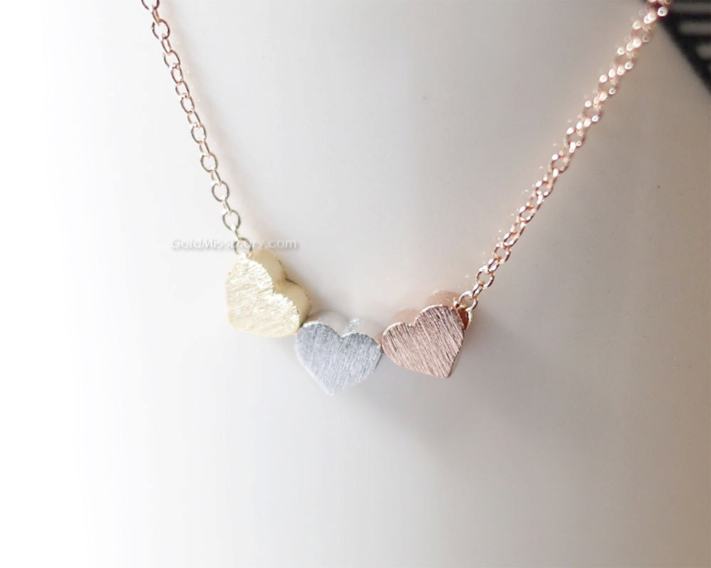 necklace puffed yellow gold simply pink and ip white heart