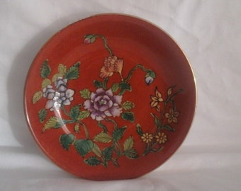 Chinese Enamel Plate with a Hand-decorated Floral Design
