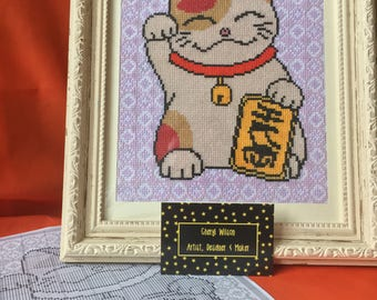 Maneki Neko | Beckoning | Chinese | Japanese Cat | Lucky | Money | Fortune | Counted Cross Stitch PDF Pattern | Instant Download