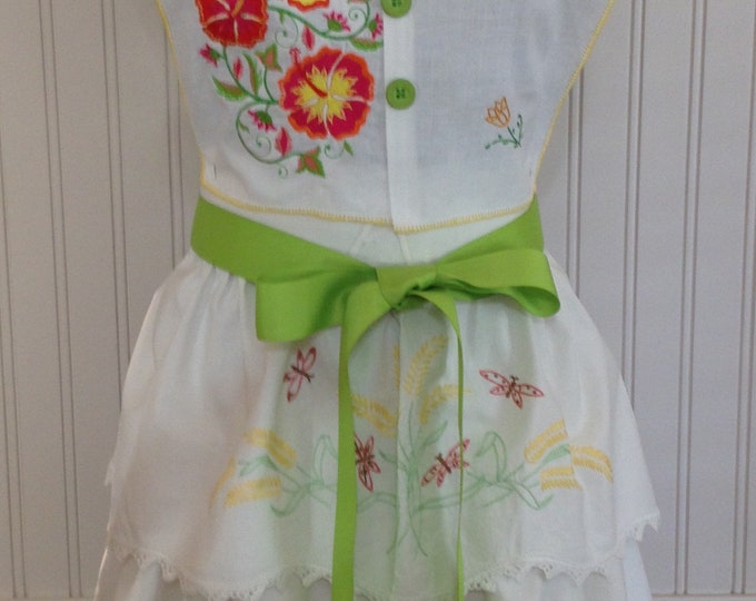 Vintage full apron shabby chic bright yellow lime green crocheted embroidered pillowcase gold roses embroidered orange flowers green ties