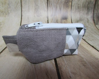 Wallet, cosmetic cotton gray fabric / linen - 9 x 5 x 3 cm - 182