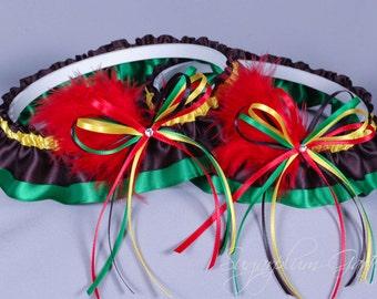 Rasta Wedding Garter Set in Satin with Swarovski Crystals and Marabou Feathers