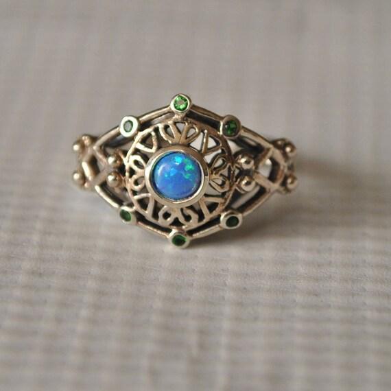 Sterling Silver Emerald Blue Fire Opal Art Nouveau Ring Sz 7  #9744