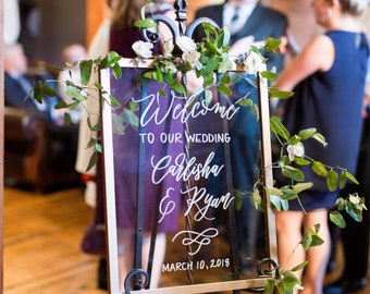RENTAL | Hand lettered Gold Frame Signage | Custom Wedding and Event Signage | Modern Calligraphy Framed Sign | Signage in Frames