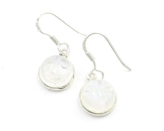 Sterling Silver Moonstone Earrings, Carved Moon Face Earrings, Moon Earrings, Indian Earrings, Ethnic Earrings