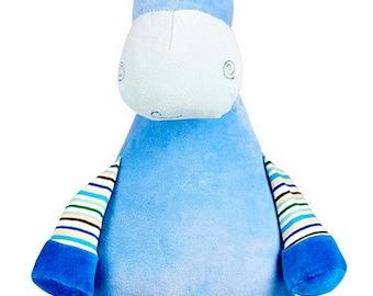 Personalised Blue Giraffe Children's Soft Toy,  Keepsake Gift for Celebration of Birth, Birthdays, Christening, Baby Shower