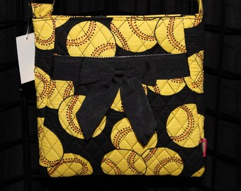 Machine Embroidered Quilted Purse-Softball,black/yellow