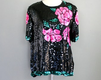 Valentine Roses - Sequined and Beaded - Party Top - by Royal Feelings - Large
