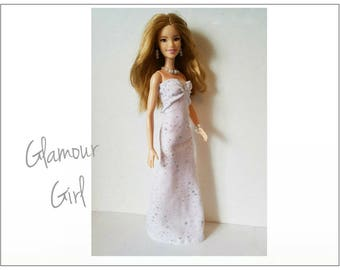 TALL Barbie Fashionistas Doll Clothes - GLAMOUR GIRL White Gown and Jewelry - Handmade Fashion by dolls4emma
