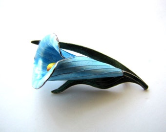Antique Sterling Silver Enamel Brooch Lapel Pin Calla Lily Floral Pin from AllieEtCie