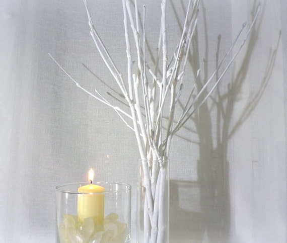 White branches painted tree branches contemporary Christmas