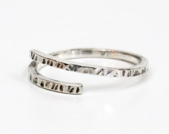 Wrap Sterling Silver Stacking Ring, Stackable Rings, Boho Ring, Silver Rings, Hammered Ring