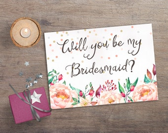 Printable Will you be my Bridesmaid, Printable Bridesmaid Card, Confetti & Floral Bridesmaid Invitation, Boho Bridesmaid Proposal Card