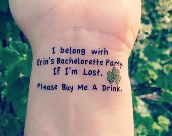 St. Patrick's Day Bachelorette Party Temporary Tattoo - As seen on Lauren Conrad - SET OF 10 -  i'm Lost, Please Buy Me A Drink