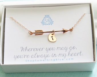 Long Distance Gift • Rose Gold Arrow Necklace • Heart Initial • Arrow Charm • Arrow Jewelry • Personalized Necklace • Hand Stamped • Layer