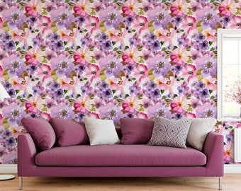 Self Adhesive Temporary Floral wall mural removable wallpaper for home interior with colorful watercolor flowers  CC031